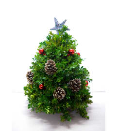 Decorated Boxwood Christmas Tree