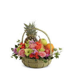 The FTD® Rest in Peace™ Fruit & Flowers