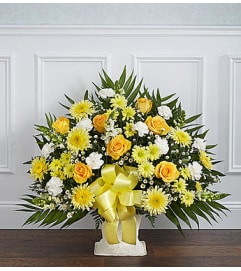 Heartfelt Tribute Yellow Floor Basket