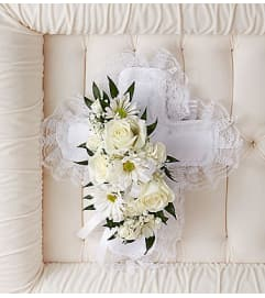 White Satin Cross Casket Pillow