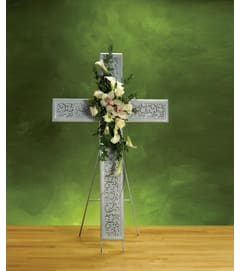 White Sympathy Cross w/ Easel