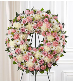 Serene Blessings Pink & White Standing Wreath