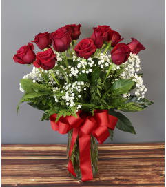A Classic Red Rose Vase