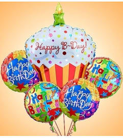 Happy Birthday Cupcake Mylar Bundle