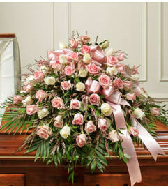 Cherished Memories Half Casket Cover – Pink/White Roses