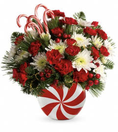 Teleflora's Candy-Striped Christmas Bouquet