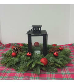 Fresh Christmas wreath with lantern