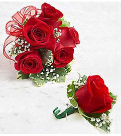 Boutonniere & Corsage Red Roses *PICK UP ONLY*