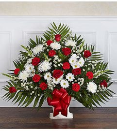 Heartfelt Tribute Red & White Floor Basket