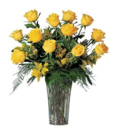 Yellow flowers forget me not flower shop llc new haven ct florist 1 dozen beautiful yellow roses long stemmed in vase mightylinksfo