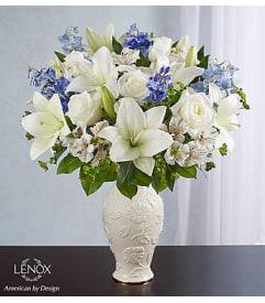 White flowers rose cart sunnyvale ca florist loving blooms lenox blue white mightylinksfo