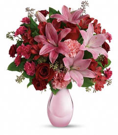Pink flowers c ws flowers gifts roanoke rapids nc florist telefloras roses and pearls bouquet mightylinksfo