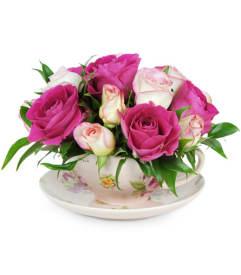 Pink flowers a country florist sheldon ia florist teacup of roses mightylinksfo
