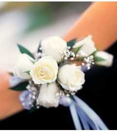 White Spray Corsage          Call for $10 DISCOUNT FOR PICK