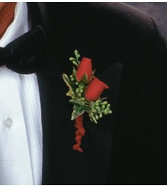 Red Spray Rose Boutonniere    Call for $10 DISCOUNT FOR PICK