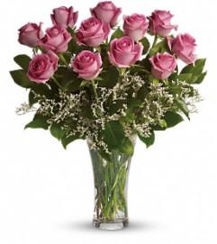 One Dozen Pink Roses Arranged
