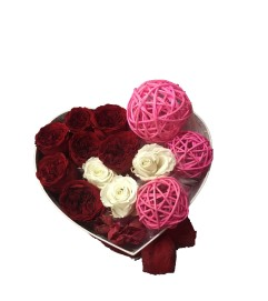 White & Red Roses in a Heart Box - 3 sizes