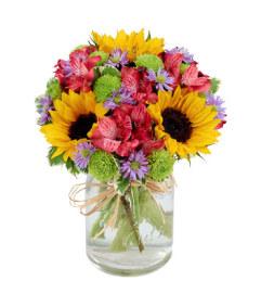 Flower fields mason jar