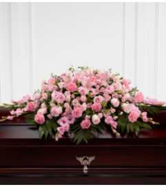 shades of pink casket spray