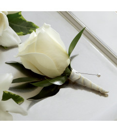 The FTD® White Rose Boutonniere