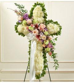 Pastel Mix Flower Sympathy Cross