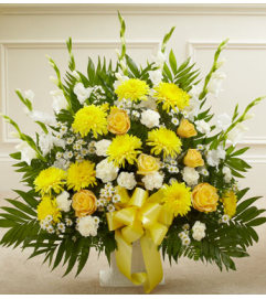 Yellow Mache Sympathy Basket