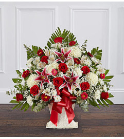 Red Rose and Lily Floor Basket