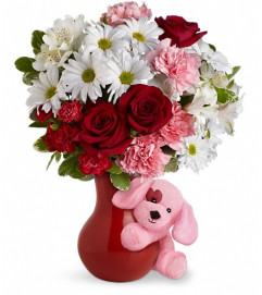 Send A Hug™ Puppy Love Bouquet with Red Roses