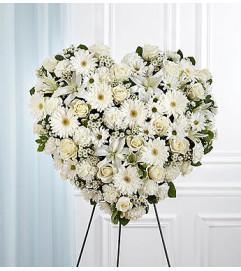 All White Mixed Flower Standing Heart Spray
