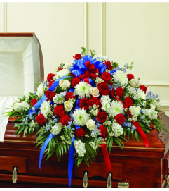 red white and blue casket spray