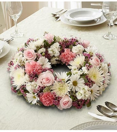Pink and White Wreath Centerpiece