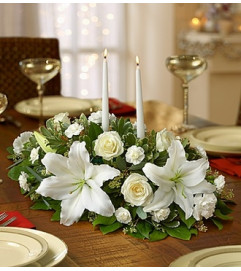 All White Centerpiece with Candles
