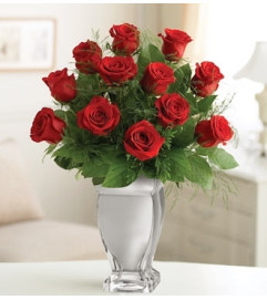 12 Red Premium Long Stem Roses in Silver Vase