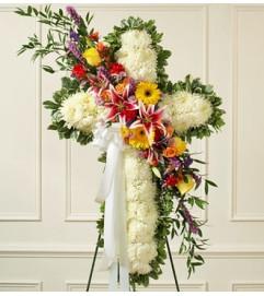 White Standing Cross with Bright Flower Break