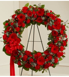Red Mixed Standing Wreath