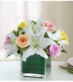 Modern Embrace™ Pastel Rose and Lily Cube