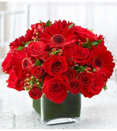 All Red Centerpiece in a Vase