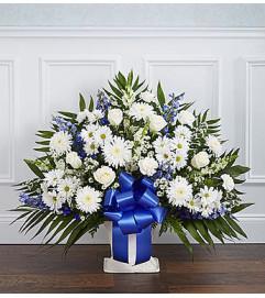 Heartfelt Tribute Blue & White Floor Basket