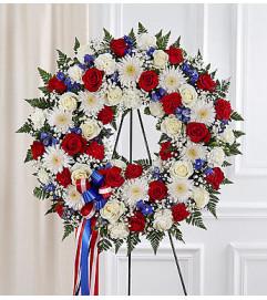 Serene Blessings Red, White & Blue Standing Wreath