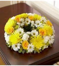 Yellow Cremation Wreath
