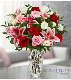 Blushing Rose and Lily Bouquet  Waterford Marquis