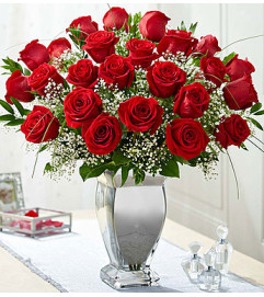 Long Stem Red Roses in Silver Vase