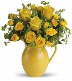 Sunny Day Pitcher of Roses