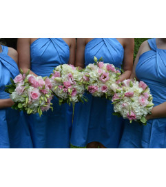 HANDTIED BOUQUET OF BLUSH FLOWERS