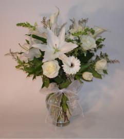 Large All White Mixed Vase