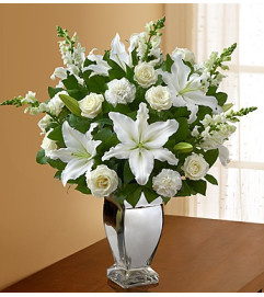 All White Arrangement in Silver Vase