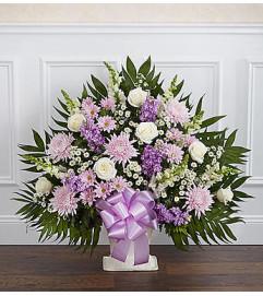 Heartfelt Tribute Lavender & White Floor Basket