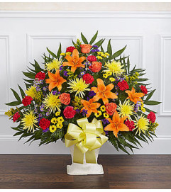 Heartfelt Tribute Bright Floor Basket