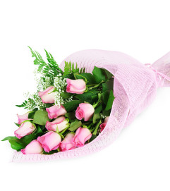 Perfect Wrapped Long-Stemmed Pink Roses