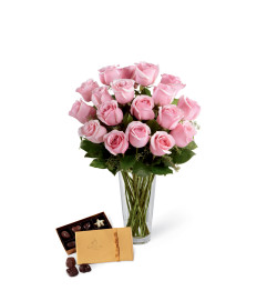 The FTD® Pink Rose & Godiva® Bouquet